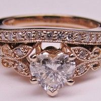 Heart Shape Diamond Butterfly Vintage Engagement Ring setting & Matching Wedding Band  In Rose Gold