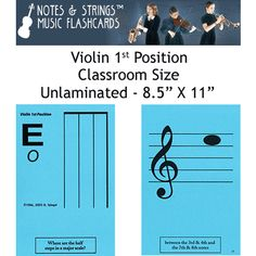 Violin 1st Position Classroom Size Unlaminated Flashca - Notes & Strings Music Flashcards  21.98