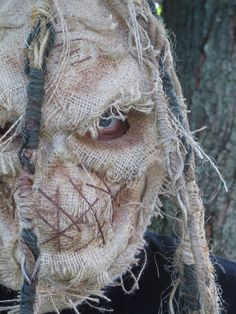 LOVE !!!!!!!!!!!! Handmade Burlap Scarecrow Latex Halloween Mask Full by rigator, $100.00