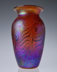 Beautiful Bohemian Hand Blown Art Nouveau Style Iridescent Art Glass Vase