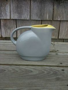 Vintage 1930's grey and yellow GE pottery water pitcher ~~I LOVE WATER PITCHERS!! <3