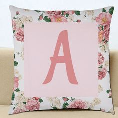 Letter Initial Personalised Cushion Cover Vintage Floral Word Sofa Scatter Printed Decorative Pillow Gift For Her Him Home