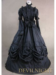 Black High Collar Classic Gothic Victorian Dress