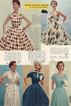 """Love these 1950s dresses! From the 1955 Lana Lobell catalog, """"Summer Symphony of Fashions"""""""