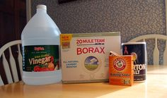 Carpet Stain Remover: Mix 1/4 cup salt, 1/4 cup borax and 1/4 cup vinegar, then apply this paste to deep stains or heavily soiled sections of carpet. Allow the paste to sit on the carpet for several hours until it dries completely, then vacuum it away. Use vinegar in place of chemicals in steam cleaner. **there is no mention of where the baking soda shown in the picture is used :/