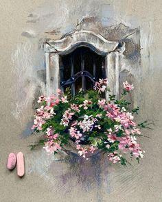 Soft Pastel Art, Chalk Pastel Art, Pastel Drawing, Chalk Pastels, Oil Pastel Paintings, Watercolor Paintings, Encaustic Painting, Watercolor Techniques, Bicycle Painting