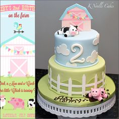 Farm theme birthday cake by K Noelle Cakes Farm Birthday Cakes, Farm Animal Birthday, Birthday Cake Girls, Birthday Parties, 2nd Birthday, Birthday Banners, Birthday Invitations, Birthday Ideas, Barnyard Cake