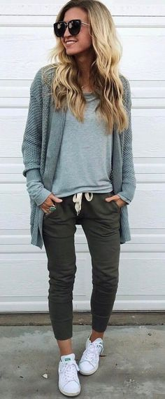 #fall #outfits women's gray crew-neck shirt with cardigan, black jeans and white shoes
