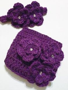 Crochet Photo Prop Outfit - Newborn Crochet Diaper Cover and Headband Purple Girl Gem Accents Photograph Prop by theshimmeringrose Crochet Mermaid, Baby Girl Crochet, Crochet Baby Clothes, Crochet Baby Hats, Newborn Picture Outfits, Newborn Pictures, Baby Outfits, Crochet Crafts, Crochet Projects
