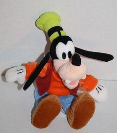 "Disney stuffed animal Goofy plush toy 10"" bean bag sewn eyes Mickey Mouse Friend #Disney #Goofy"
