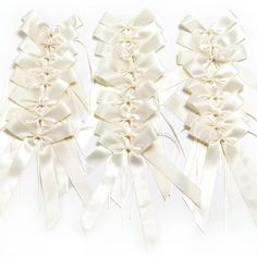 25pcs Delicate Wedding Pew End Bowknots Ribbon Bows Cars Chairs Decorations (Ivory)