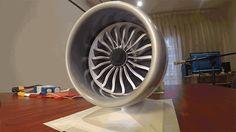3D printed fully-functional scale model of a Boeing 787's GE-built turbofan jet engine.