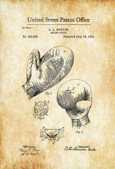 Boxing Glove Patent 1894 - Patent Print Boxing Art Glove Patent Boxing Fan Gift Boxing Glove Blueprint Boxers Sports Art by PatentsAsPrints