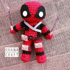 Deadpool inspired crochet doll-Made To Order-FREE SHIPPING