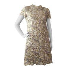 1866818ed70 1960s Gold Lame Ribbon Embellished Lace Mini Dress Mod Fashion, 1960s  Fashion, Gold Lame
