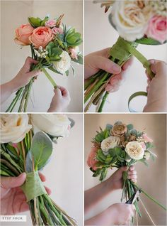 STEP FOUR:  Wrap your bouquet in floral tape, starting at the top and traveling down the stem bunch. This will give your bouquet a little added support. Cut the excess stems down until you have reached your desired length.