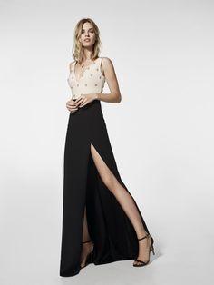 Vestido de fiesta negro - Vestido largo GRANENT - manga sin mangas | Pronovias