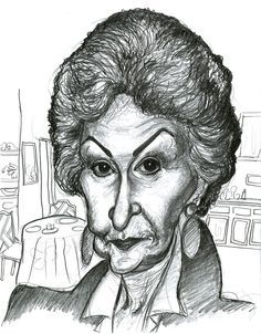 Caricature of Bea Arthur from The Golden Girls. Graphite on smooth bristol. Bea Arthur in The Golden Girls Funny Caricatures, Celebrity Caricatures, Cartoon Faces, Funny Faces, Bea Arthur, Dark Helmet, Caricature Artist, Cartoon Shows