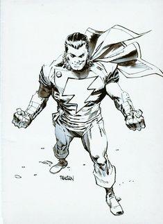 Captain Marvel by Dan Panosian Shazam Comic, Captain Marvel Shazam, Dc Comics Heroes, Dc Comics Art, Superhero Characters, Dc Characters, Superhero Coloring, Superhero Design, Comic Pictures