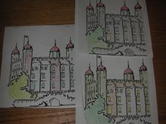 Great art idea to teach about textures by creating lines crossed over each other. Find a coloring page of the Tower of London.-My. Grumpy's Motor Car