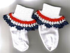 Girl Socks with crochet ruffles - white with red, white and blue ruffle by JNPsStringsNThings on Etsy https://www.etsy.com/listing/24861191/girl-socks-with-crochet-ruffles-white