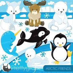 BUY 20 GET 10 OFF Arctic animal clipart commercial use polar bear vector graphics penguin digital clip art digital images - by Prettygrafikdesign Polo Norte, Artic Animals, Bear Vector, Image Paper, Baby Clip Art, Watercolor Images, Nursery Art, Polar Bear, Arctic