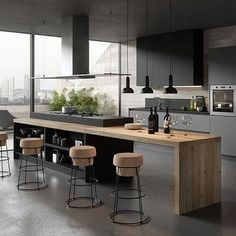 : Cuisine moderne gris anthracite et bois Kitchen Island Ideas anthracite bois cuisine gris Moderne Home Decor Kitchen, Kitchen Room, Kitchen Remodel, Modern Kitchen, Contemporary Kitchen, New Kitchen, Kitchen Island With Seating, Home Kitchens, Kitchen Design