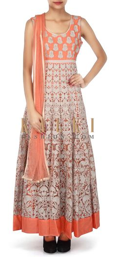 Buy Online from the link below. We ship worldwide (Free Shipping over US$100). Product SKU - 304369. Product Link - http://www.kalkifashion.com/peach-anarkali-suit-featuring-in-resham-embroidery-only-on-kalki-18298.html