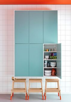 Perfect for little kids #IkeaLove :) Turquoise FAKTUM wall cabinets and BEKVÄM step stools