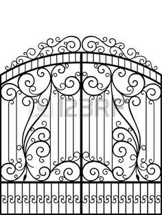 Puerta de hierro forjado puerta valla Foto de archivo                                                                                                                                                                                 Más