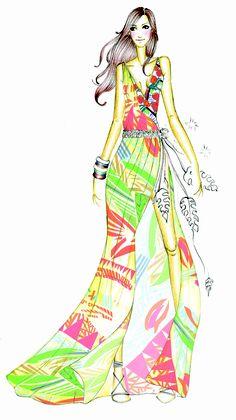Croqui Ivete Colorido #fashion #dress #illustration #ilustração
