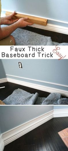 DIY Home Improvement On A Budget - Faux Thick Baseboard - Easy and Cheap Do It Yourself Tutorials for Updating and Renovating Your House - Home Decor Tips and Tricks, Remodeling and Decorating Hacks - DIY Projects and Crafts by DIY JOY http://diyjoy.com/diy-home-improvement-ideas-budget #homeimprovement.com, #homeimprovementonabudget