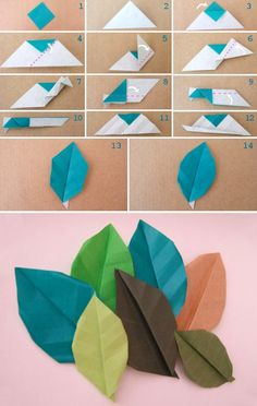 Origami leaf tutorial :DHow to make paper craft origami leaves step by step DIY tutorial instructions…Hoja en origami --- DIY: origami leaf - these would be an awesome embellishment on a page!From easy to advanced paper flowers instructions and tut Instruções Origami, Origami And Kirigami, Paper Crafts Origami, Diy Paper, Paper Crafting, Origami Wedding, Origami Ball, Origami Bookmark, Dollar Origami