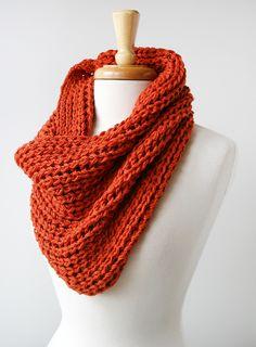 Knit Infinity Cowl in Persimmon Orange (by elenarosenberg.com)