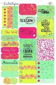 Shine Bright neon planner stickers for ECLP IWP kikkik Teacher Classroom Decorations, Kikki K, Free Stickers, Happy Planner, Planner Stickers, Free Printables, Doodles, Neon, Bright