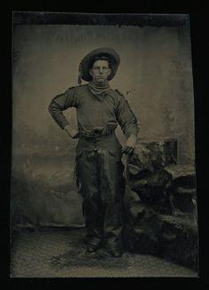 Antique 1800s Western Tintype Photo /// Armed  Identified Colorado Cowboy
