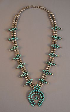 BEAUTIFUL VINTAGE ZUNI TURQUOISE CLUSTER SQUASH NECKLACE - MINT! - 26""