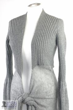 UNITED COLORS OF BENETTON Grey Knit with Tie Cardigan Soft Fluffy Comfy sz M