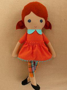 Reserved for Aletta  Fabric Doll Rag Doll Red por rovingovine