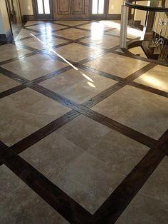 Travertine & Hardwood job by Katwyk Tile in Jordan, Utah    love this floor!