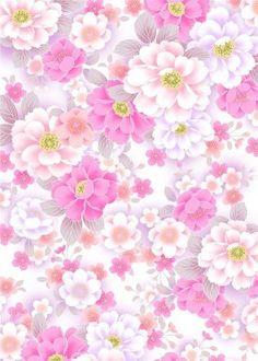 Fond, background, papiers, paper, scrap, printable : Fleurs roses et blanches