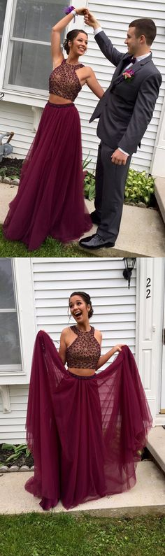 Unique Two-Piece Burgundy Tulle Long Prom/Evening Dress with Beading prom,prom dress,prom dresses,prom gown,prom gowns,long prom dress