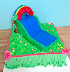 #waterslide #luau #birthday #cake