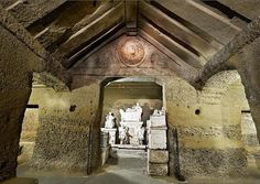L'ipogeo dei Volumni ~ The Hypogeum of the Volumnus family is an Etruscan tomb in Ponte San Giovanni, a suburb of Perugia, central Italy and dated ca. 3rd century BC.The Hypogeum was the Roman-Etruscan tomb of Arnth Veltimna Aules. It is part of the larger Palazzone necropolis, a burial ground dating to the 6th-5th century BC, with numerous subterranean tombs.The tomb was used until the 1st century BC. It was rediscovered on 5 February 1840.