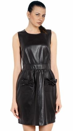 Adorable Bow Pocket Leather Dress