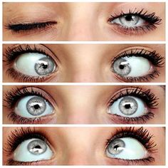 Grey eyes - not blue or green. They look best with peaches, reds, browns, and golds.