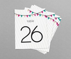 Party Flags Wedding & Event Table Numbers Printable Table