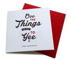 funny Geordie valentines card. Things ad dee to yee. Newcastle card