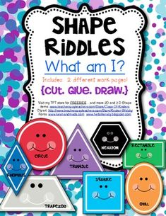 What Am I? (Math} Shape Riddles for 2D Shapes. {Read. Cut. Glue. Draw.} 2 work pages included in this download. $