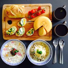 Brunch with porridge ,mushroom risotto and brioche